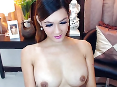 Be in charge Incomparable Shemale Masturbating her Big Unending Cock