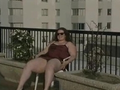 Obese chick upskirt tease outdoors